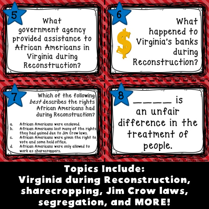 Virginia Studies: Reconstruction Task Cards